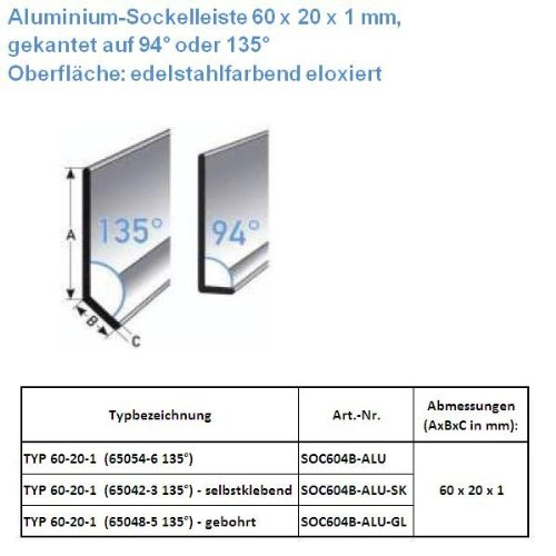 50 METROS RODAPIE / ZOCALO TYP 60-20-1 (ALUMINIO ANODIZADO / COLOR: ACERO INOXIDABLE / 65048-5 135° GL) - PERFORADO
