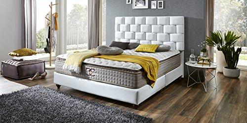Boxspringbett-Zrich-Hotelbett-Doppelbett-Matratze-Topper-Modern-Luxus-Bett-140x200cm-Wei