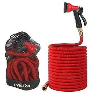 Tuyau d'arrosage, Uvistar 25ft / 50ft / 75ft / 100ft extensible et flexible jardin pipe avec pistolet à eau, raccords en laiton massif et 8-mode de pulvérisation (100FT, Rouge)