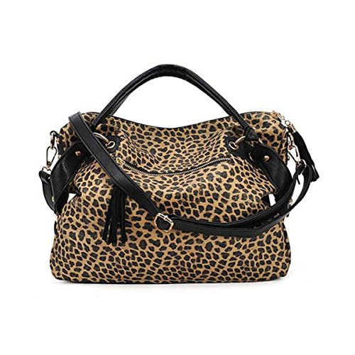 XY Fancy, Borsa a mano donna nero nero, leopardo (multicolore) - RH#BB1018-0630-JPY03 leopardo