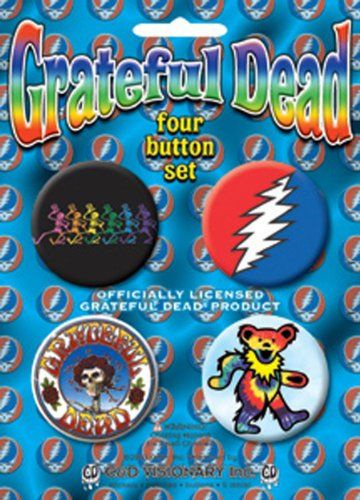 """GRATEFUL DEAD Skeleton scheletro 4 Piece pezzo Assorted assortito GDP Inc. BUTTON Set, Officially Licensed Products Classic Rock Assorted Artwork Button pulsante Set - 1.5"""" Each"""