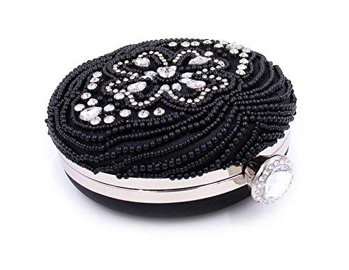 WYB Runde Perlen Diamant / Abendtasche / Kupplung / gehobenen Perlen Tasche / Abendtasche Kette Black