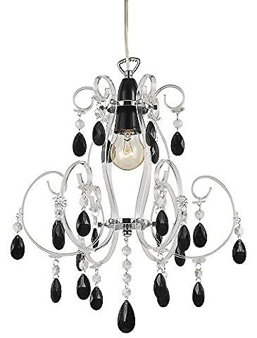 Moderne Kronleuchter Hnge Lampenschirm mit schwarzen Acryl Trpfchen und transparenter Rahmen von (Kronleuchter Mit Lampenschirm)