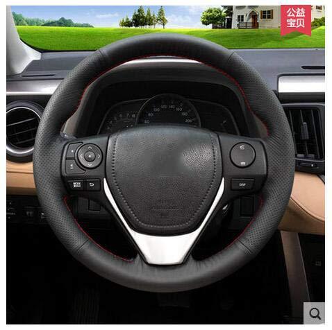 HCDSWSN Stomates bilatéraux Noirs Couvre Volant de Voiture en Cuir véritable pour Toyota 2015 RAV 4 Nouvelle Corolla Levin
