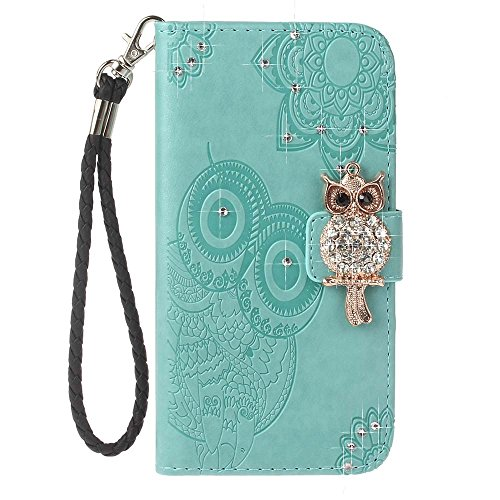 iPhone 8 Plus Custodia, COOSTOREEU 3D Glitter Gufo e Mandala Embossing Premium PU Custodia in Pelle Card Slot Magnetica Portafoglio Flip per Apple iPhone 8 Plus,Grigio Menta verde