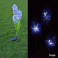 jianghang Upgraded Version Solar Light Hyacinth Garden Pile Landscape Light Outdoor Garden LED Light Outdoor Decorative Light Convenient design(None purple)