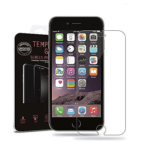 Net Solutions ® Protection d'écran pour iPhone 6/6S ( 4,7 pouces) en verre trempé haute transparence et ultra résistant (incassable, inrayable 9H) et Ultra Slim (0.3mm), protection optimale de votre téléphone iphone 6/6S (4.7