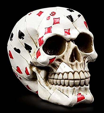 Totenkopf Figur - Poker Skull - Fantasy Gothic Deko lustig Schädel Totenschädel