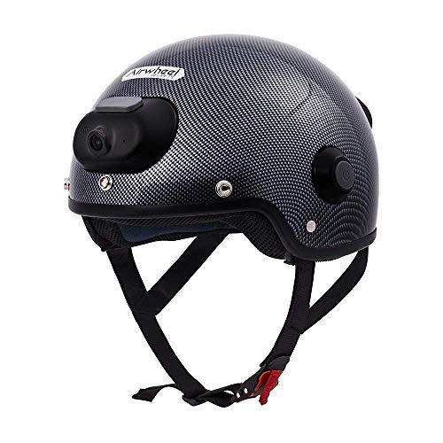 Yu-helmet Casco da Equitazione Intelligente, Scooter da Moto Sport estremi Casco di Sicurezza Supporto videocamera Registrazione Video registratore di Guida Chiamata Bluetooth Musica,White,XL(61cm)