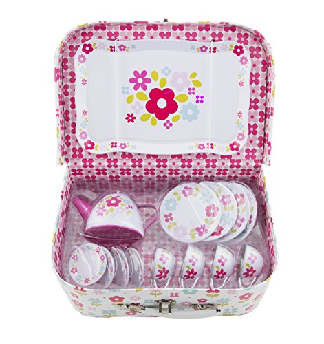 Childrens Retro Floral Tin Tea / Picnic Set with matching Laminated Case