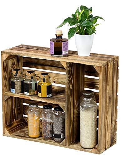 LAUBLUST Küchenregal Vintage Used Look - ca. 50 x 17 x 40 cm, Holz, Geflammt - Gewürzregal Querformat 2 Regalböden