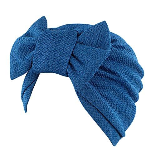 Cap Moslemin Turban Weibliche Elastic mit Groß Schleife Monochrome Kopftuch Mütze für Haarausfall Krebs Chimio Blau (Kostüme Von Indien)