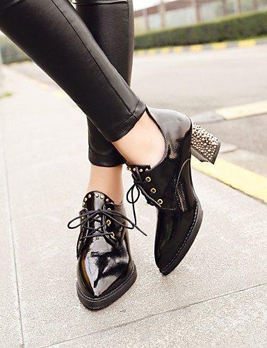 WSS 2016 Chaussures Femme-Habillé / Décontracté-Noir / Rouge / Blanc-Gros Talon-Bout Pointu-Talons-Similicuir black-us6 / eu36 / uk4 / cn36