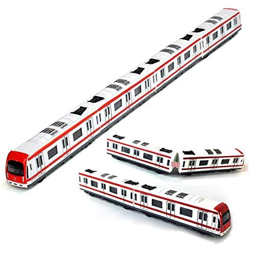 Train Modello, 4pcs giocattolo Car Set lega Ferroviario Treno della metropolitana Modello, 1/64 Scala lega Metropolitana / Model Car ToysPlay, Rosso Bianco