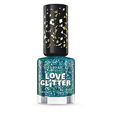 Rimmel London Love Nail Varnish Shade Number 033, Tinsel Toes Gold/Red and Blue Glitter from Coty