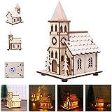 Berrose-1 Stück LED Licht Hölzern Puppenhaus Villa Weihnachten Ornamente Weihnachtsbaum Erleuchten Kabine Süß Miniatur Haus mit Bausatz Holz Modell Set Kreativ Geburtstag Weihnachts Geschenk