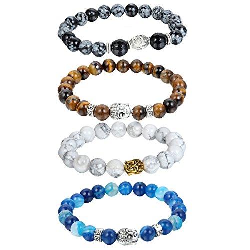 Herren Buddha Kopf Armband Armreif, Energie-Stein Kugelkette Gebet Mala Stretch Energiearmband Armschmuck, Braun Blau Weiss (Energie Halloween)