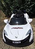 Roadstar Cabrio Kinder MP3 LED Elektroauto Akku Fahrzeug Auto mit Power Motor (Weiß)
