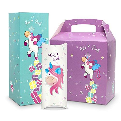 3er Set Geschenkbox / Geschenkverpackung Einhorn - 3 Boxen in verschiedenen Farben, Formen &...