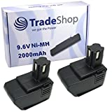 2x Trade-Shop Premium Ni-MH Akku 9,6V / 2000mAh für Hilti SF100 SF100A SFB105 SB10 BD2000 ersetzt SBP10 265605 315078 334584 SPB105