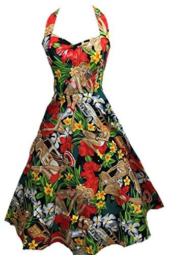 Boolavard Women's Vintage 1950s Halter Neck Audrey Hepburn Dress 50s Retro Swing Dresses with Belt Strand Kleid