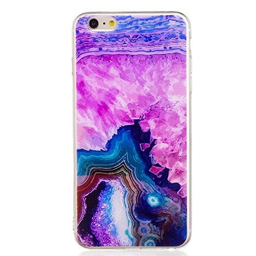 iphone 6 Plus Hülle, E-Lush TPU Soft Silikon Tasche Transparent Schale Clear Klar Hanytasche für iphone 6 Plus (5.5 Zoll) Durchsichtig Rückschale Ultra Slim Thin Dünne Schutzhülle Weiche Flexibel Hand Rosa Felsen
