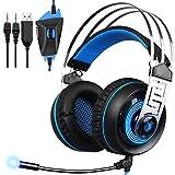 SADES A7 3,5-mm-Schnittstelle 7.1 USB-Gaming-Headset mit virtuellem Sound (Schwarz Blau)