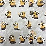 lizenziert von Universal Studios–Creme cromini Minions Neuheit Print Premium Grade 100% Baumwolle feines Gewebe Kinder Vorhang Betten Stoff 142cm breit, Meterware,