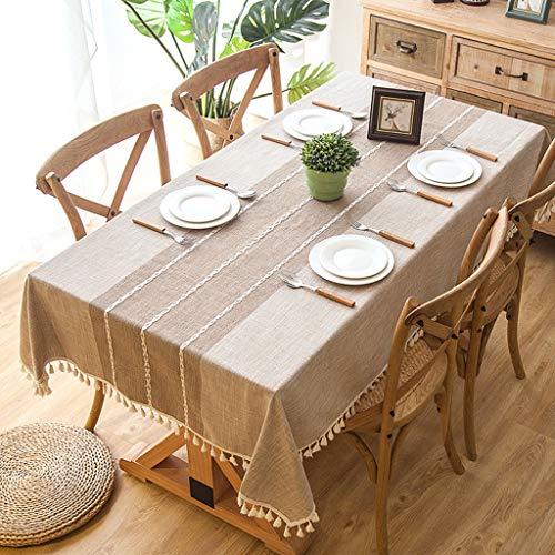 Polyester Nachahmung Baumwolle Leinen Stickerei Fransen Spitze Rechteckigen Couchtisch Tischdecke Licht Khaki 140 cm * 180 cm -