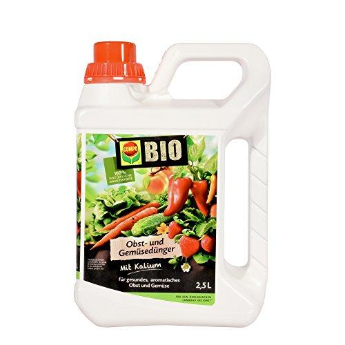 COMPO BIO Obst- und Gemüsedünger für alle Obst- und Gemüsesorten, Natürlicher Spezial-Flüssigdünger, 2,5 Liter - 2.5% Flüssig