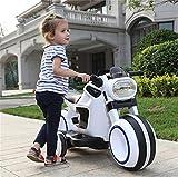 WYD Kinder Elektrische Dual Drive Motorrad Großes Dreirad Junge Mädchen Im Alter Von 3-6 Sitzen Baby Kind Spielzeug Ladeflasche Kinderwagen,White