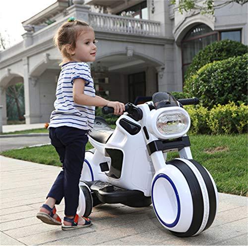 WYD Kinder Elektrische Dual Drive Motorrad Großes Dreirad Junge Mädchen Im Alter Von 3-6 Sitzen Baby Kind Spielzeug Ladeflasche Kinderwagen,White -