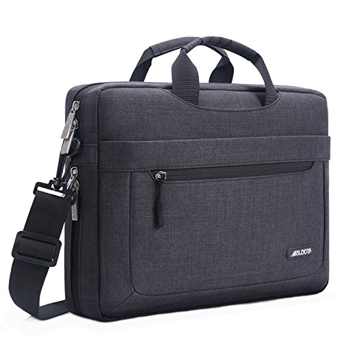 MOSISO Bolsa de Hombro para 11.6-13.3 Pulgadas MacBook Air/Pro/Surface Pro/Surface Laptop 2017/Surface Book 2/1, Poliéster Mensajero Maletín con Profundidad Ajustable en Parte Inferior, Negro