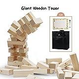 Lavievert Jenga Geschicklichkeitsspiel Wackelturm aus Kieferholz Stapelspiel Stapelturm Familienspiel mit 54 Bauteilen Höhe 81cm (Stapelhöhe bis zu 152cm+ . Alter 10+)