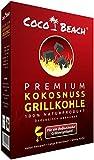 CocoBeach Premium Grillkohle (2,5 kg) - 100% Kokosnuss-Kohle [Die beste Grillkohle für das beste Fleisch - Extrem lange Brenndauer, keine chemischen Zusätze, starke Hitze]