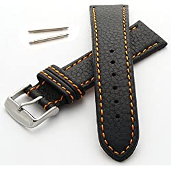 30mm Watch Strap in Genuine Leather with Orange Stitching - New Spring Bars Supplied