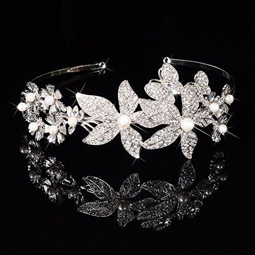 Miya 1Stück MEGA Glamour Haarreif, fein luxus Haarreif mit super schöne groß Blumen aus Perle...