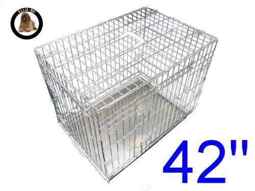 Ellie-Bo Hundebox / Transportkäfig für Hundewelpen, zusammenklappbar, 2 Türen, mit beißfester Bodenwanne aus Metall, 107cm, GrößeXL, silberfarben