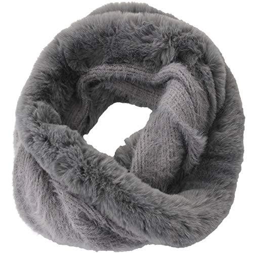 Fereti® grigio sciarpa anello collo circolare pelliccia rotondo inverno donna punto cappello pelle infinito chiusa