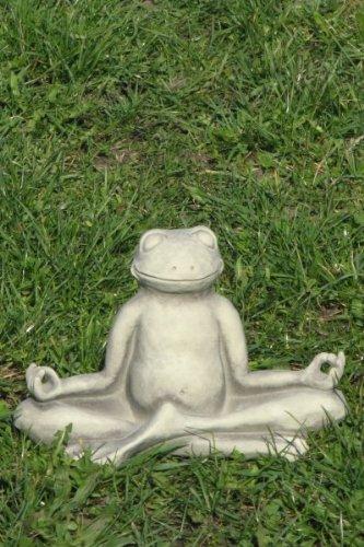 Yoga Frosch Steinguss 25 x 20 cm Garten Geschenk Deko, Frogg, Gartdendeko, Entspannung, Figur, Skulptur