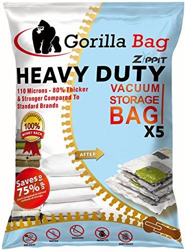 5 hochwertige XL Vakuum Aufbewahrungsbeutel von Gorilla Zippit, extra groß 100x80cm. 110 Mikron. Perfekt geeignet für Kleidung, Bettbezüge, Decken, Handtücher, Vorhänge und mehr. Doppelter Reißverschluss & einzigartigem Turboventil (Aufbewahrungstasche Kleid)