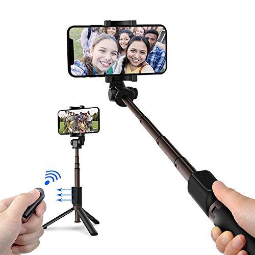 Bastone Selfie Selfie Stick Tripode Estensibile Treppiedi in Alluminio con Telecomando Bluetooth 3.0, Remote Shutter Asta per Selfie Universale per iPhone X 8 7 7 Plus 6 6s 6s plus Samsung Galaxy s7 e Android 3.6-6 Inch Smartphone Rotazione di 360°