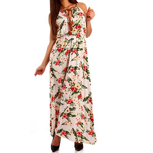 Damen Maxikleid Kleid mit Träger Allover Print Creme/Blumen