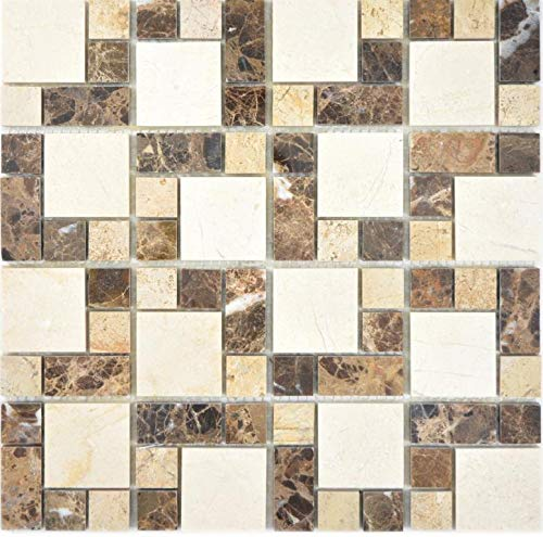 Marmor Mosaik Stein emperador dark cremarfil Wand Boden Küche Dusche Bad Fliesenspiegel|88-1313_f|10 Mosaikmatten -