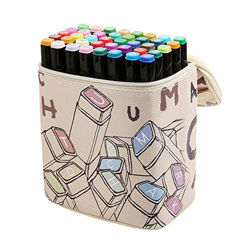 Mengma - Rotulador con diseño de animación, multicolor, 40 colores, tinta a base de alcohol, cabeza doble, punta ancha y fina con bolsa de regalo de dibujos animados 40 colours for Student 40 colours