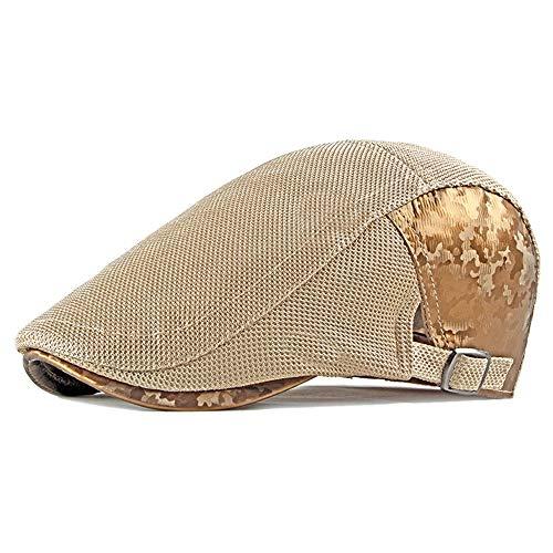 LYDIAMOON Herren Atmungsaktiv Mesh Sommer Hut Flache Kappe Baskenmütze Ivy Gatsby Newsboy Cabbie Caps,lightkhaki