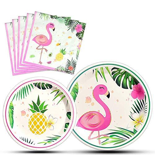 Flamingo Partyzubehör - 48 Stück Luau Einweggeschirr-Set Hawaiian für Mädchen Kinder Geburtstag Abendessen Dessertteller und Servietten für 16 Gäste (Kinder Party-ideen Für Luau)