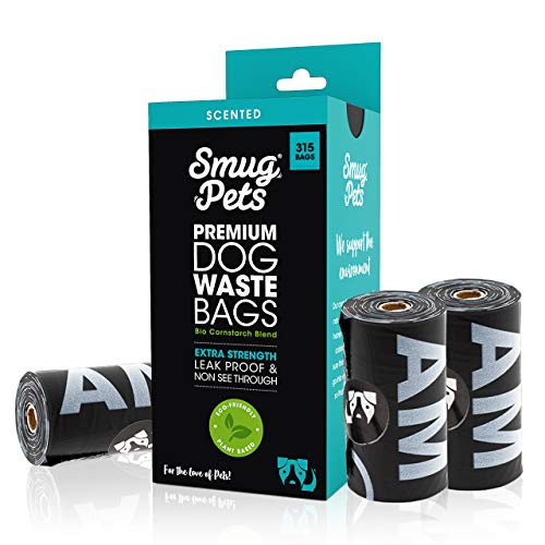SmugPets - 315 Bolsas biodegradables para excrementos - Extragrandes y perfumadas