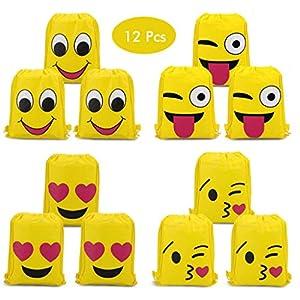 51KyGaTW7uL. SS300  - Amycute 12 Piezas Mochilas Amarillo Bolsas de Cuerdas Mochilas con Cordón de Dibujos Animados para Fiesta de Cumpleaños Niños Niñas Favores Decoraciones