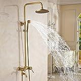 JU Dusche Set Badezimmer Antiken Dusche Dusche Set Voller Kupfer Retro Bad Wasserhahn Europäischen Bad Dusche